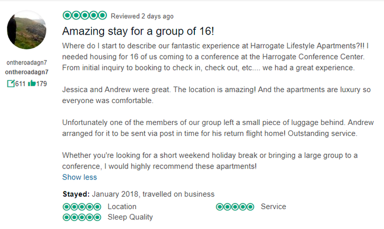 Just think of us like a Harrogate hotel, but instead of a cramped hotel room, you walk into an entire apartment that is spacious and stylish as your very own home from home. We can even provide you with a breakfast pack for your stay! review from tripadvisor