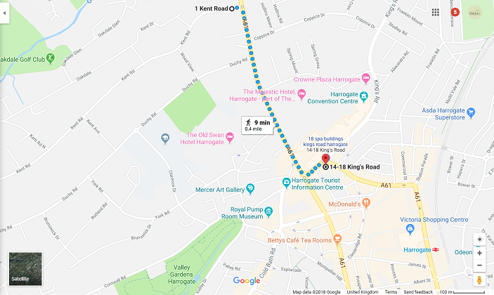 Google map directions from Harrogate Lifestyle Apartments to Kent Road FREE on-street car parking