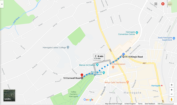 Google map directions from Harrogate Lifestyle Apartments to point where DISC ZONE ends on Cornwall Road FREE on-street car parking from that point onwards in direction away from the apartments